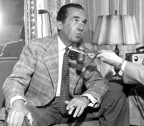 "A picture of Edward Murrow taken in April 1958, two years prior to him narrating the radio documentary ""Who Killed Michael Farmer."""