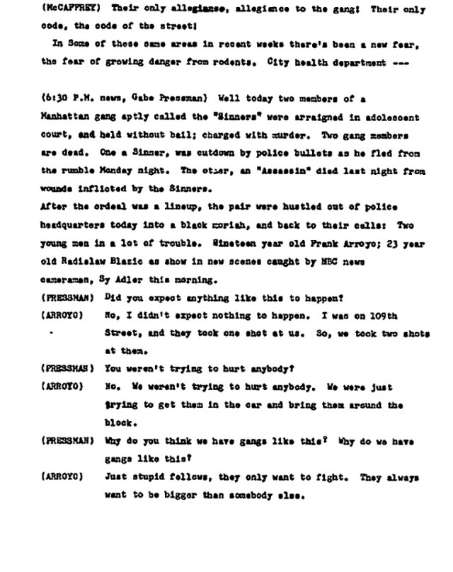 Gabe Pressman interview with Frank Arroyo, July 8, 1959, member of the Sinners involved in the shooting death of Sergio Quinones, a rival member of the Assassins gang.