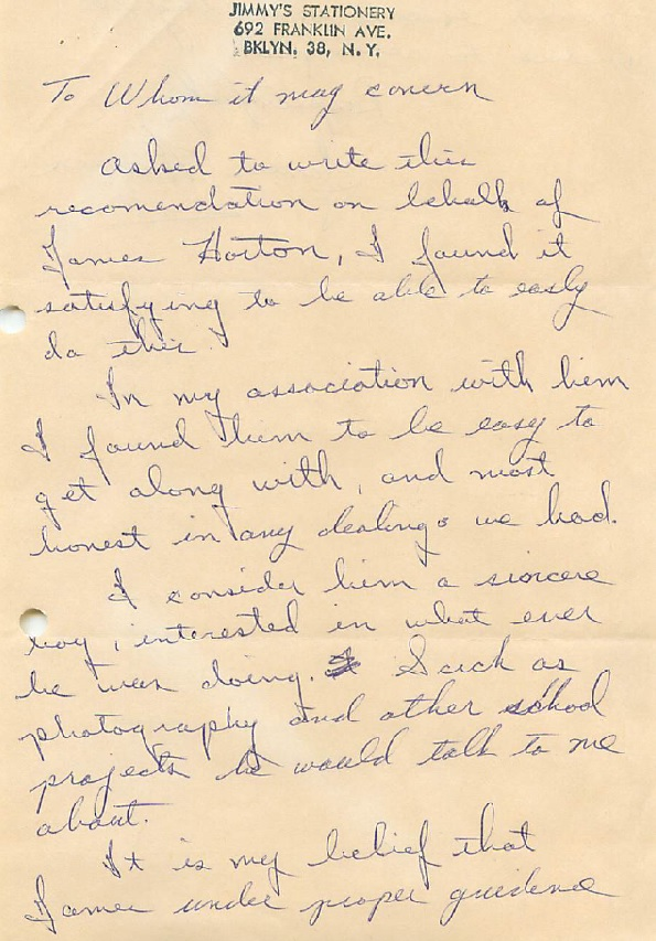"""Letter of reference for James Horton, member of social club the """"Seropians"""" page 1"""