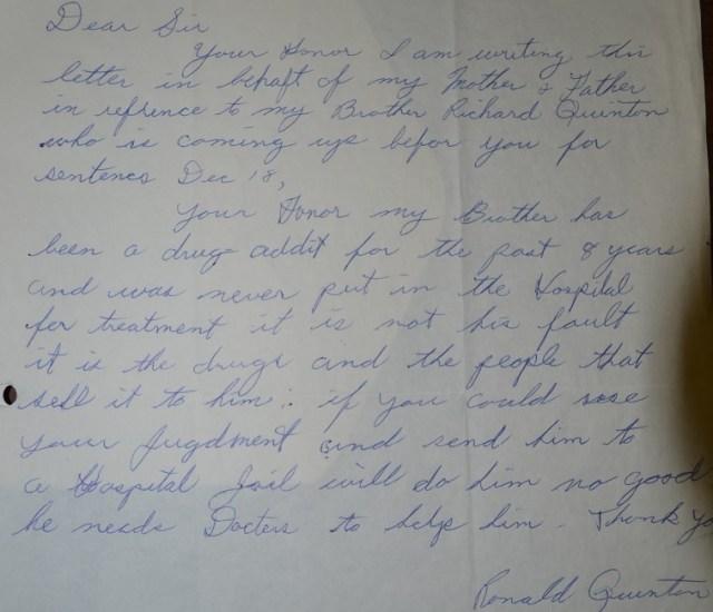 Ronald Quinton Letter