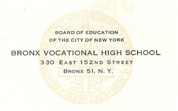 Bronx Vocational High School Letterhead 1959