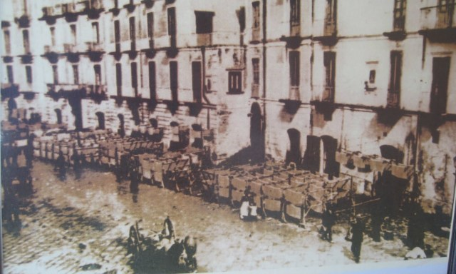 Pasta drying on racks in the early 20th Century