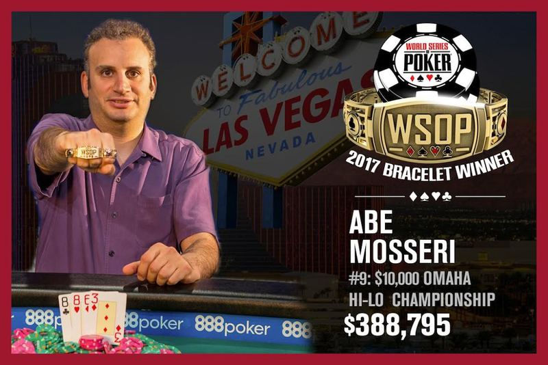 Abe Mosseri Wins 2017 World Series of Poker $10,000 Omaha Eight of Better Championship