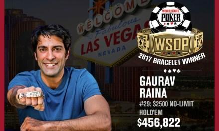 Gaurav Raina Wins 2017 World Series of Poker $2,500 No-Limit Hold'em Event