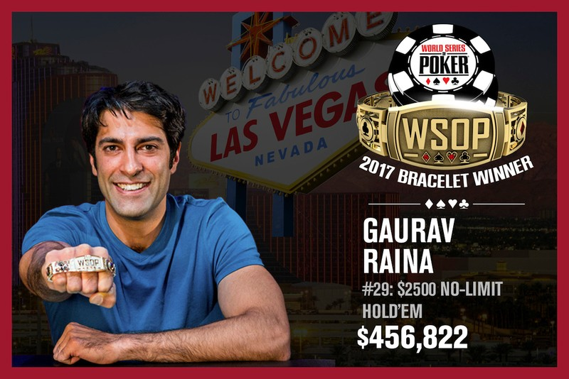 Gaurav Raina Wins 2017 World Series of Poker $2,500 No-Limit Hold'em Event