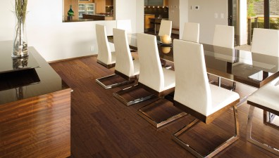 Modern White Dining Room with Hardwood Floors