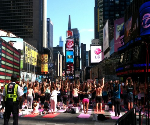 I didn't make that up- every year on the summer solstice Times Square is blocked off for massive yoga classes!