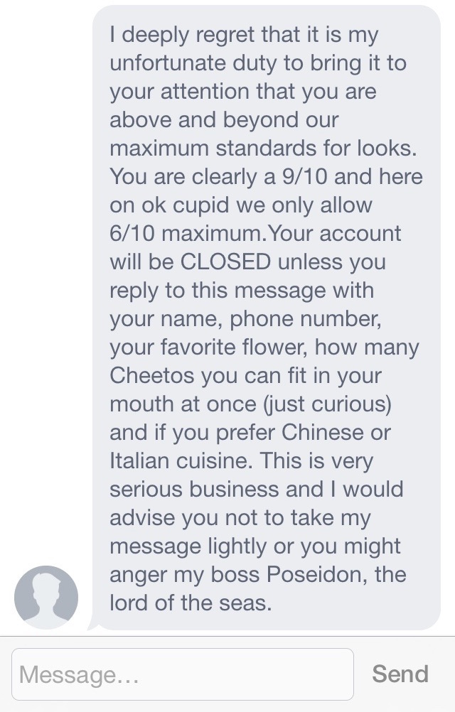 Terrible dating site messages