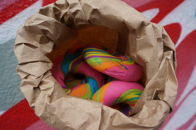 the bagel store rainbow bagel