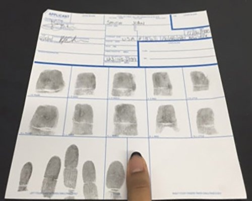 Ink Fingerprint Card