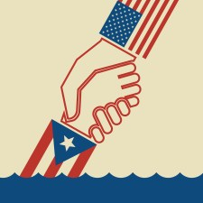 Illustration urging hurricane relief for Puerto Rico. Helping hand pulling up another to safety.