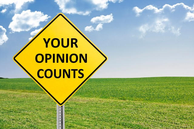 Your Opinion Counts Road Sign