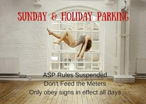 What are the parking rules for Sundays and holidays?