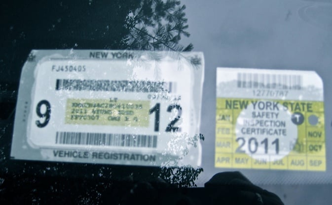 How to display registration and inspection stickers for Ny motor vehicle inspection