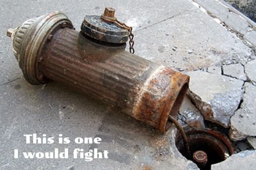 I would fight a fire hydrant parking ticket for this broken fire hydrant