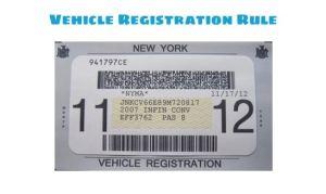 NYC vehicle registration rule for registration sticker
