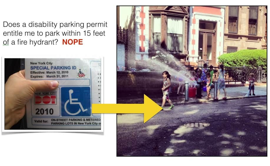 Can I park within 15 feet of a fire hydrant with a NYC PPPD?
