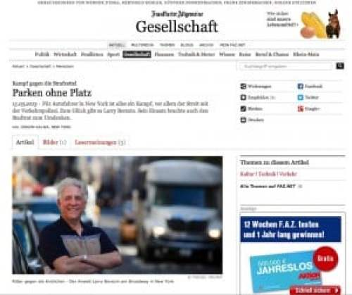 This is an image of a German newspaper article published ina German newspaperabout parking in NYC