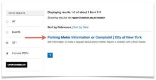 this image is a page on the 311 nyc gov website relevant to reporting a broken muni meter