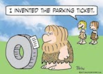 this image is a cartoon about the inventor of the first parking ticket