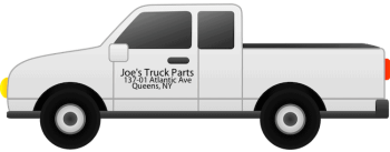 This image shows a pick up truck properly altered with dark letter on the side door