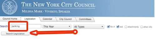 this image is a grab of the legislation page of the NY City Council
