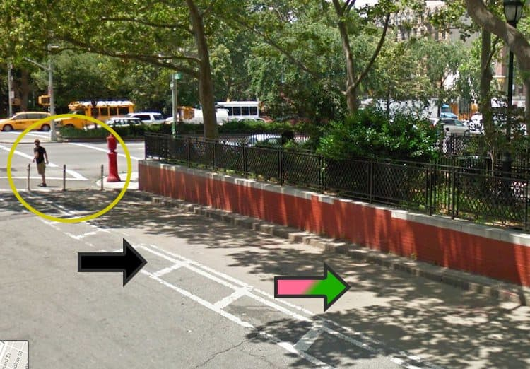 This is a Google Map image showing the beginning of the misleading sidewalk extension