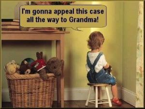 This image show a child sitting in the corner and saying she's going to appeal her punishment
