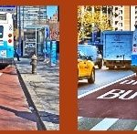 This image demonstrates the difference between the two type of bus lanes in NYC