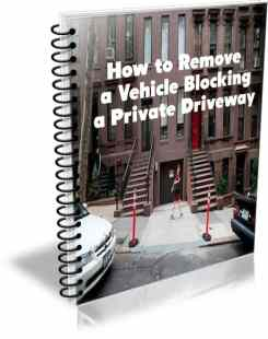 This image is the ecover for an ebook about how to remove a vehicle blocking a driveway in NYC