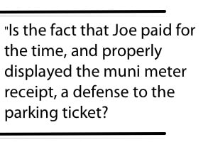 This image is a pullquote and poses a question about Joe's parking ticket