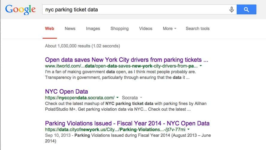 This image is a Google landing page for  Parking Violations Issued - Fiscal Year 2014 - NYC Open Data