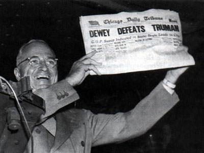 Bad predictions Truman lost election