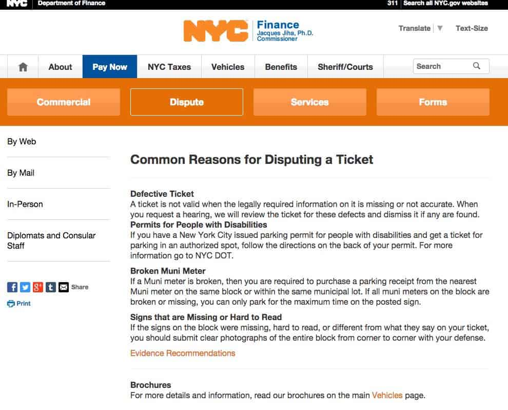 Department of Finance common reasons for disputing a parking ticket website page