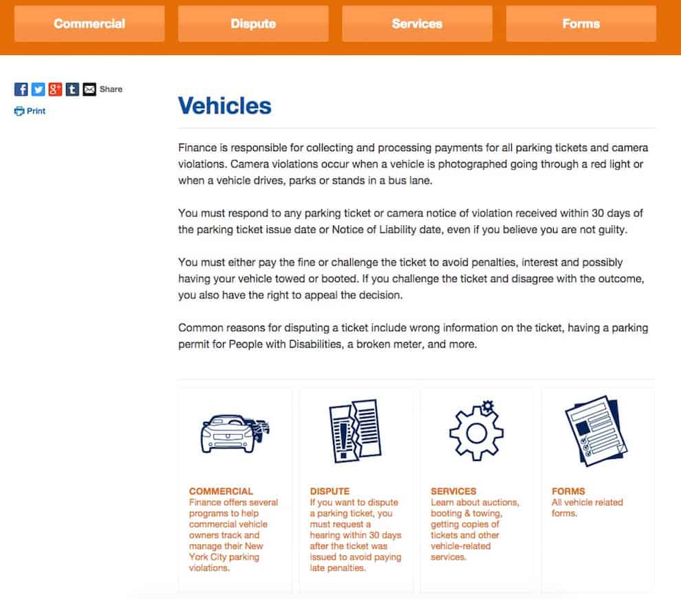 NYC Department of Finance vehicles website page
