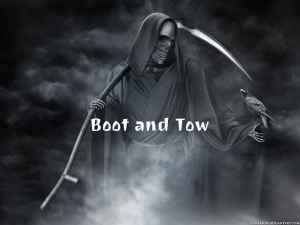This image represents the odious practice of boot and tow 2 hours later
