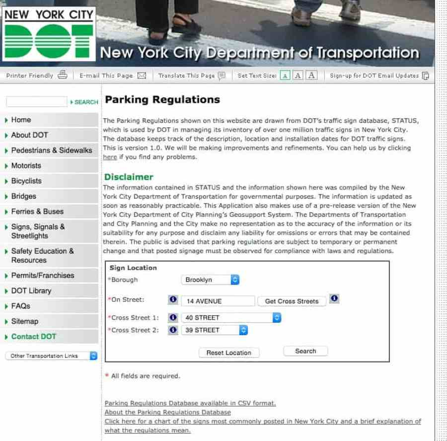 DOT parking regulations map for NYC parking ticket