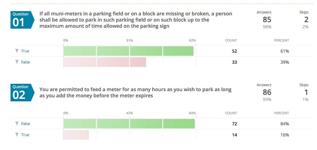 Parking ticket quiz answers to Q1-Q2