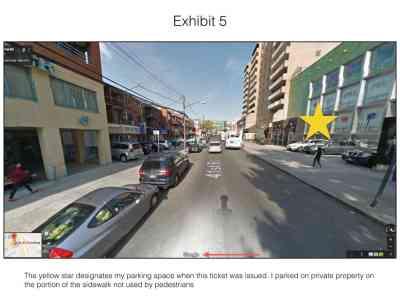 Sidewalk parking ticket exhibit 5
