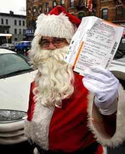 Santa gets a NYC parking ticket