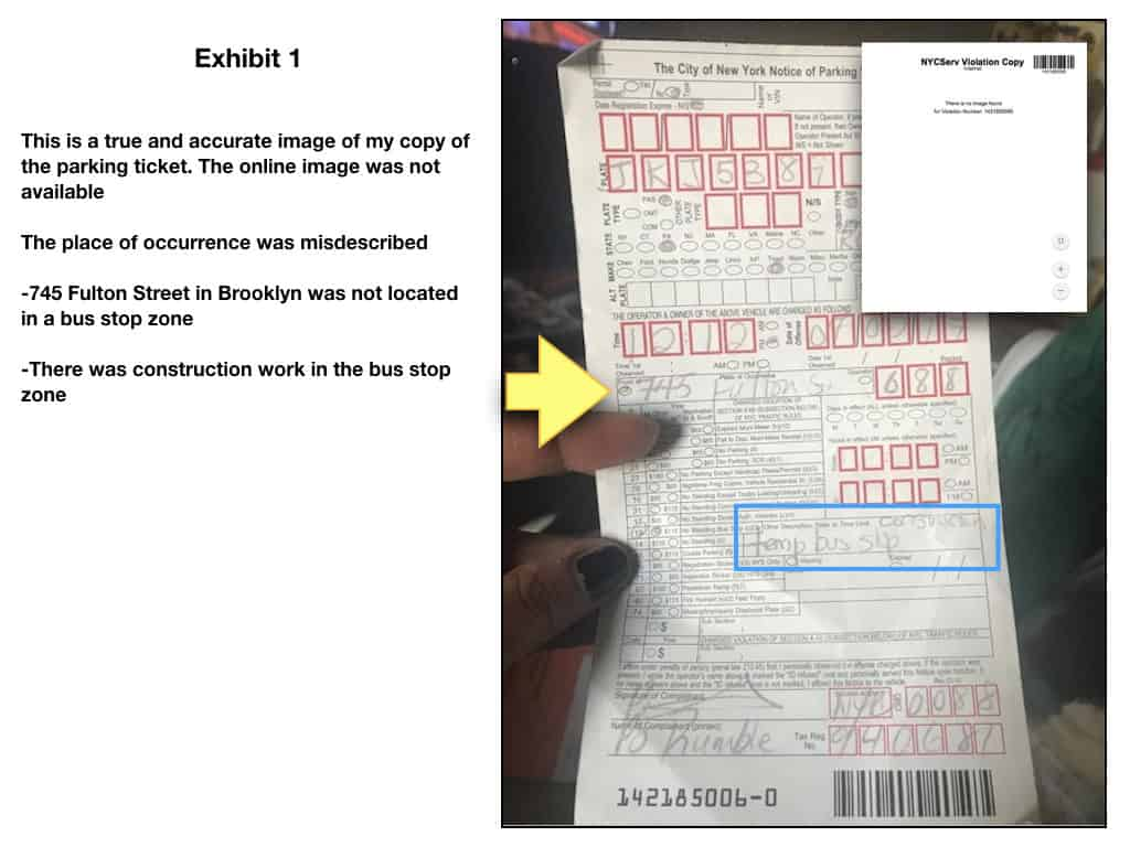 NYC parking tickets for bus stop violations