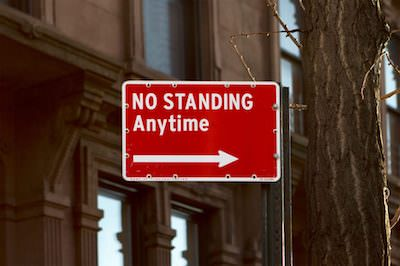 no standing anytime sign. Keep moving!
