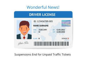 driver license suspensions for unpaid traffic tickets eliminated