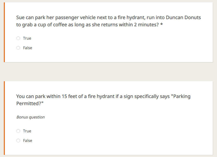 Fire Hydrant Quiz Questions 6, 7