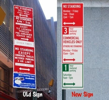 Parking signs comparing redesined sign to old parking sign