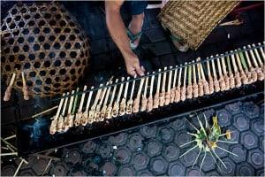 Minced fish satay in Bali