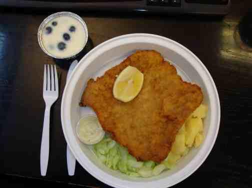 Pork schnitzel platter and dessert