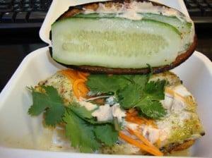 Open grilled king mackerel sandwich from Num Pang