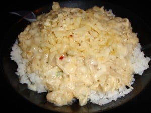 White chicken chili with pepper jack chees over white rice