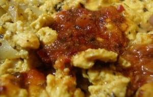 scrambled tofu & hot sauce closeup